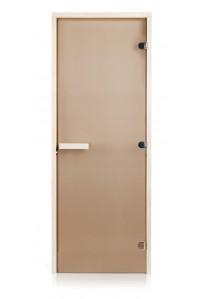 Стеклянная дверь для сауны Greus Classic прозрачная бронза 70х200 липа