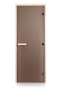 Стеклянная дверь для сауны Greus Classic матовая бронза 70х200 липа