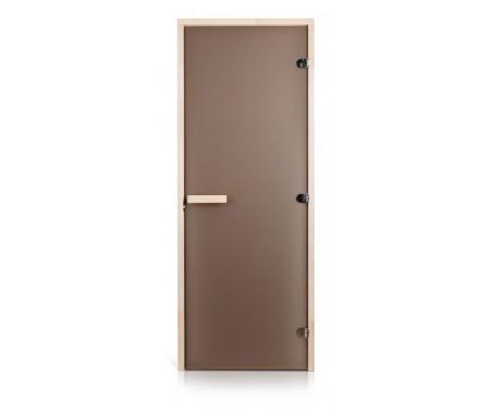 Стеклянная дверь для сауны Greus Classic матовая бронза 80х200 липа