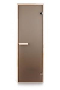 Стеклянная дверь для сауны Greus Classic матовая бронза 70х190 липа