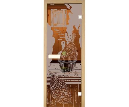 Дверь стеклянная Липа Парилка матовая Украина 60х190 (204572)