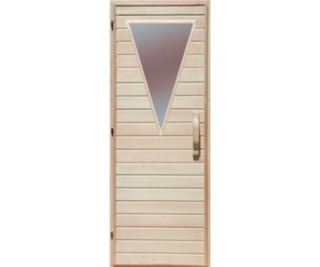 Деревянная дверь с матовым стеклом для сауны Украина 70х190 липа