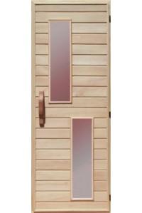 Деревянная дверь с матовым стеклом для сауны Украина 70х190 липа (вариант 2)