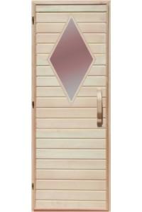 Деревянная дверь с матовым стеклом для сауны Украина 70х200 липа