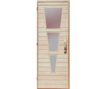 Деревянная дверь с матовым стеклом для сауны Украина 70х210 липа (вариант 2)