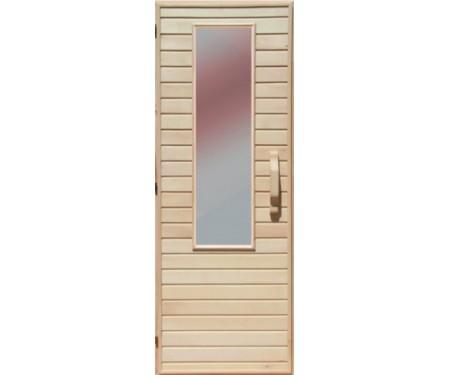 Деревянная дверь с матовым стеклом для сауны Украина 80х210 липа