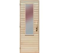 Деревянная дверь со стеклом для сауны Украина 70х210 липа