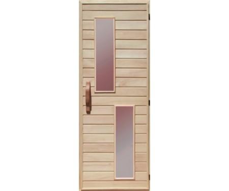 Деревянная дверь со стеклом для сауны Украина 70х210 липа (вариант 2)