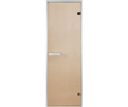 Стеклянная дверь для хаммама Greus 80х200 бронза