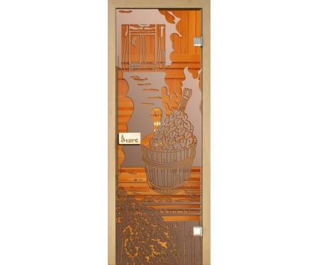 Стеклянная дверь для сауны Украина 70х190 бронза с рисунком