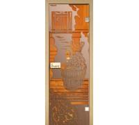 Стеклянная дверь для сауны Украина 80х190 бронза с рисунком