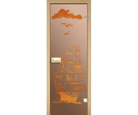 Стеклянная дверь для сауны Украина 80х200 бронза с рисунком