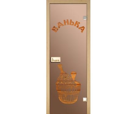 Стеклянная дверь для сауны Украина 80х210 бронза с рисунком