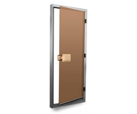 Стеклянные двери для сауны и бани Pal 80x210 матовые (бронза)