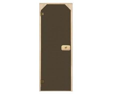 Стеклянные двери для сауны и бани Pal трапеция 70x190 (бронза)